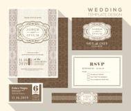 Vintage wedding invitation set design Template royalty free illustration