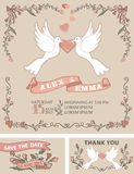 Vintage wedding invitation set.Pigeon,floral decor Stock Images