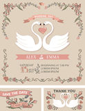 Vintage wedding invitation set.Swans,floral decor Stock Image