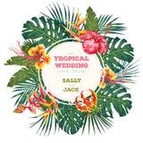 Vintage wedding invitation. Trendy tropical leaves and flowers design. Botanical vector illustration stock illustration