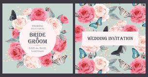 Vintage wedding invitation royalty free illustration