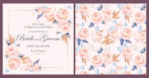 Vintage wedding invitation stock illustration