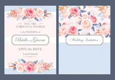 Vintage wedding invitation Stock Photos