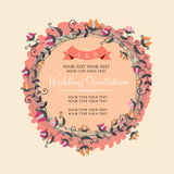 Vintage Wedding Invitation. Wedding invitation in vitage and cute style. All elements grouped and layered Stock Photos
