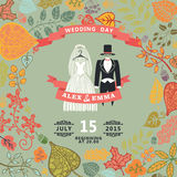 Vintage wedding invitation.Wedding wear,autumn Stock Image