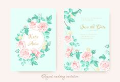 Wedding Invite with Roses Composition and Border. royalty free illustration