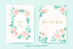 Wedding Invite with Roses Composition and Border. stock illustration