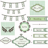 Vintage wedding mint set of elements  Stock Photos