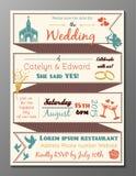 Vintage wedding party invitation card Stock Photos