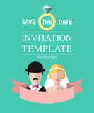Vintage wedding romantic invitation card with ribbon, ring, bride and groom in flat style. Save the Date in vector. Stock Photo