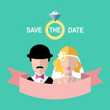 Vintage wedding romantic invitation card with ribbon, ring, bride and groom in flat style. Save the Date in vector. Royalty Free Stock Photography