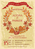 Vintage wedding save date card with leaves wreath Stock Photography