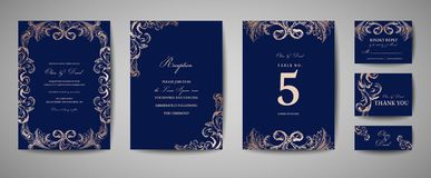 Vintage Wedding Save the Date, Invitation Cards. Luxury Vintage Wedding Save the Date, Invitation Navy Cards Collection with Gold Foil Frame and Wreath. Vector royalty free illustration