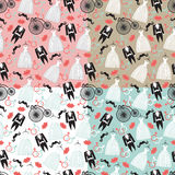 Vintage wedding seamless pattern set.Clothers,retro bycicle Royalty Free Stock Photos