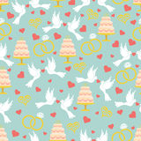 Vintage wedding seamless pattern set.Hearts, pigeons,cake,rings Royalty Free Stock Image