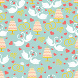 Vintage wedding seamless pattern set.Hearts, swans,cake,rings Stock Images