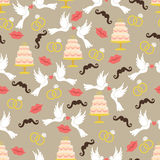 Vintage wedding seamless pattern set.Lips,mustache, pigeons,cake Royalty Free Stock Images
