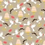 Vintage wedding seamless pattern set.Lips,mustache, pigeons,cake Royalty Free Stock Images