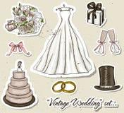 Vintage wedding set. stock illustration