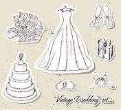 Vintage wedding set. Stock Photos