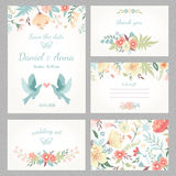 Vintage wedding set. Beautiful vintage wedding set with cute flowers and love birds. Wedding invitation, thank you card, save the date cards. RSVP card. Vector Stock Photo