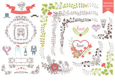 Vintage wedding set.Floral decor,icons, swirling Stock Image