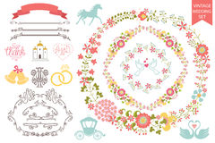 Vintage wedding set.Floral wreath,icons, swirling Royalty Free Stock Image