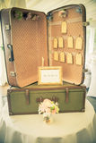 Vintage wedding suitcase Stock Photos