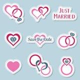 Vintage wedding symbols labels Stock Image