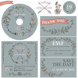 Vintage wedding template set with floral decor Royalty Free Stock Photos