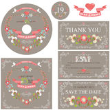 Vintage wedding template set with floral wreath Stock Images