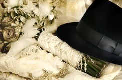 Vintage Weddings. Vintage Bouquet and Fedora. Sepia tones with some colour pastel bleed through Stock Photos