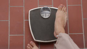 Vintage weight scale stock video footage