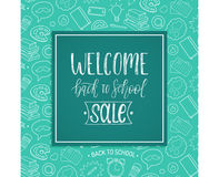 Vintage Welcome Back To School Sale poster. Vector hand lettering in frame. Knowledge day design concept. Stock Images