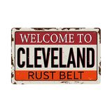 Vintage welcome to rust belt cleveland America Metal Sign - Vector. EPS10 stock illustration