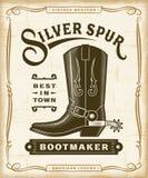 Vintage Western Bootmaker Label Graphics stock illustration