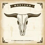Vintage Western Bull Skull. In woodcut style. Editable EPS10 vector illustration Royalty Free Stock Images
