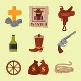 Vintage western cowboys vector signs american symbols vintage old designs cartoon icons illustration. Stock Images