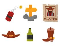 Vintage western cowboys vector signs american symbols   Royalty Free Stock Photos