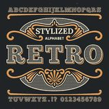 Vintage western 3d typography. Gothic retro vector type. Retro numbers and letters. Abc text, alphabet type vintage, gothic typography and number illustration Stock Photos