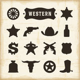 Vintage Western Icons Set. Editable EPS10 vector illustration with transparency Royalty Free Stock Images