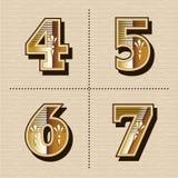 Vintage western numbers alphabet letters font design vector illu. Stration 4, 5, 6, 7 Stock Image