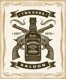 Vintage Western Saloon Label Graphics vector illustration