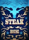 Vintage western Steak House Poster Stock Image