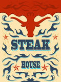 Vintage - western Steak House Poster Royalty Free Stock Photography