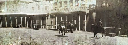 Vintage Western Street and Riders stock image