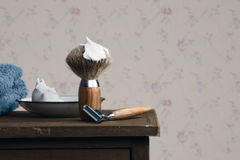 Vintage wet Shaving Tools on a wooden Table Royalty Free Stock Images