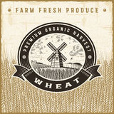 Vintage wheat harvest label Stock Photography