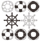 Vintage wheel and lifebuoy. Hand drawn decorative elements Stock Photo