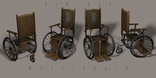 Vintage wheelchairs. Illustration of vintage wheelchairs on grey background. Different points of view royalty free stock photos